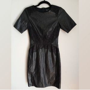 Topshop black  faux leather and lace dress